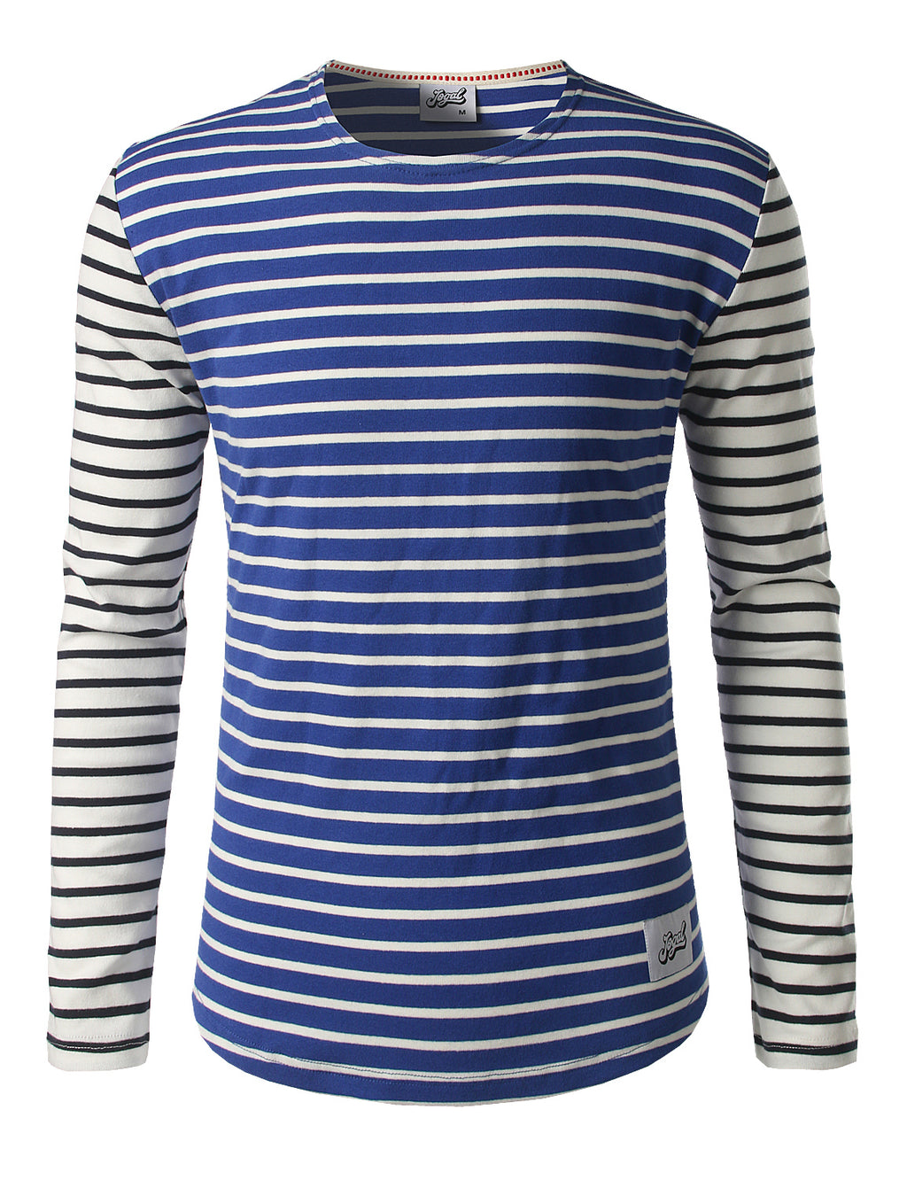 Jogal Mens Striped Shirt Long Sleeve Casual  T-Shirt