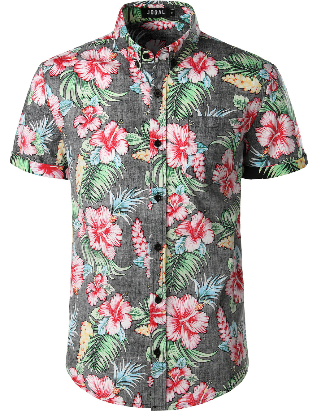 JOGAL Men's Flower Casual Button Down Short Sleeve Hawaiian Shirt (Black)