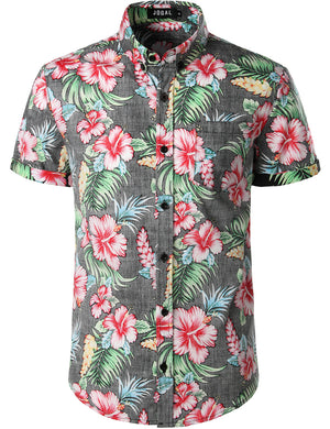 JOGAL Men's Flower Casual Button Down Short Sleeve Hawaiian Shirt (Black Hibiscus)