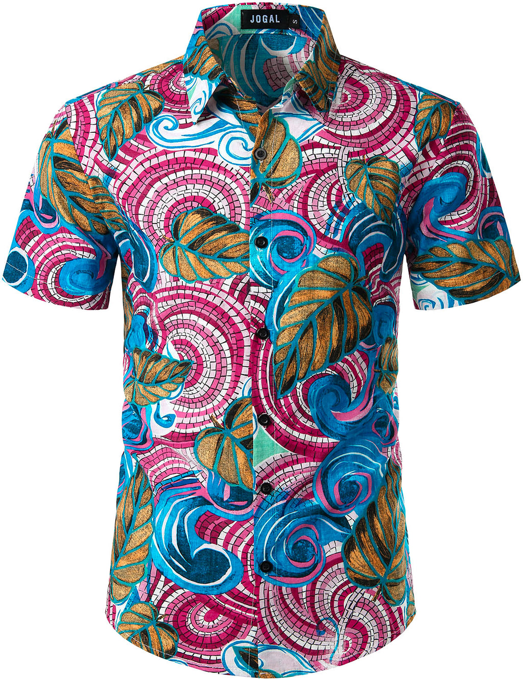 JOGAL Mens Summer Flower Hawaiian Shirts Short Sleeve  Shirts ( Bohemian )