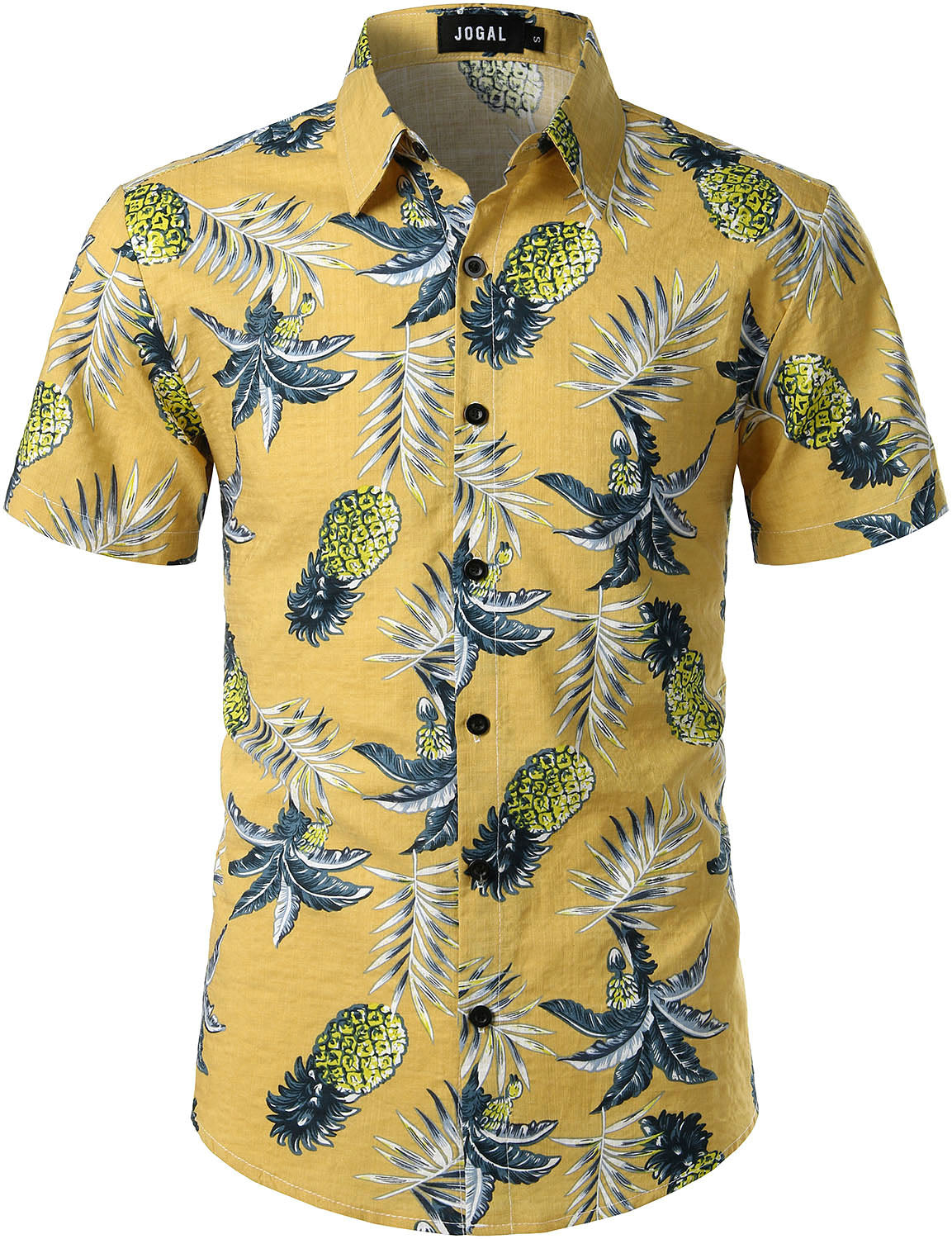 JOGAL Men's Cotton Button Down Short Sleeve Hawaiian Shirt (Pineapple)