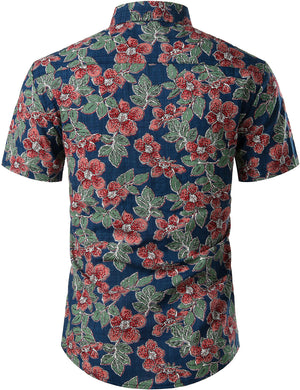 JOGAL Men's Cotton Button Down Short Sleeve Hawaiian Shirt( Navy Flower)