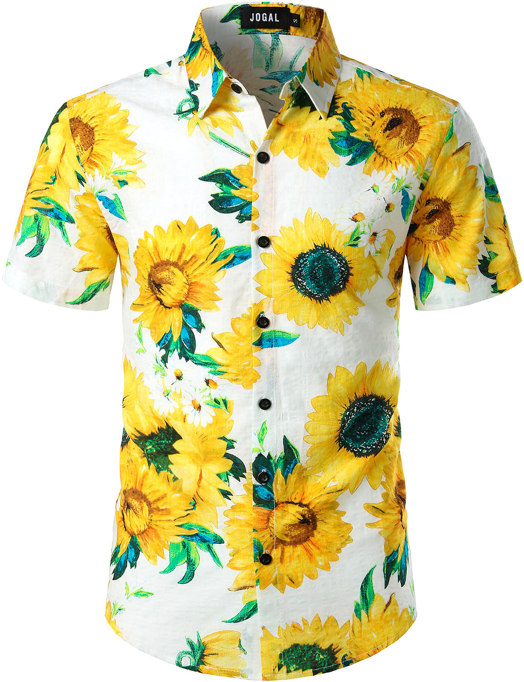 JOGAL Men's Cotton Button Down Short Sleeve Hawaiian Shirt (Sunflower)