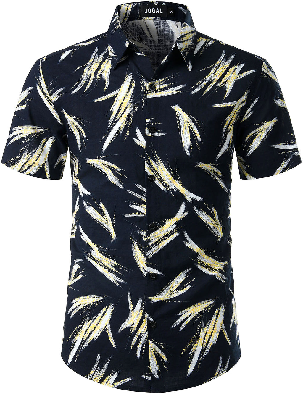 JOGAL Men's Cotton Button Down Short Sleeve Hawaiian Shirt(Black bamboo)