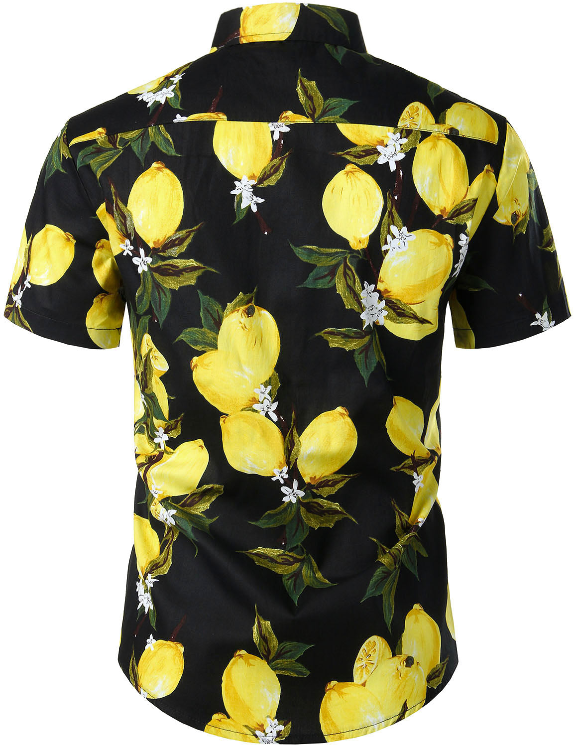JOGAL Men's Cotton Button Down Short Sleeve Hawaiian Shirt(Lemon)