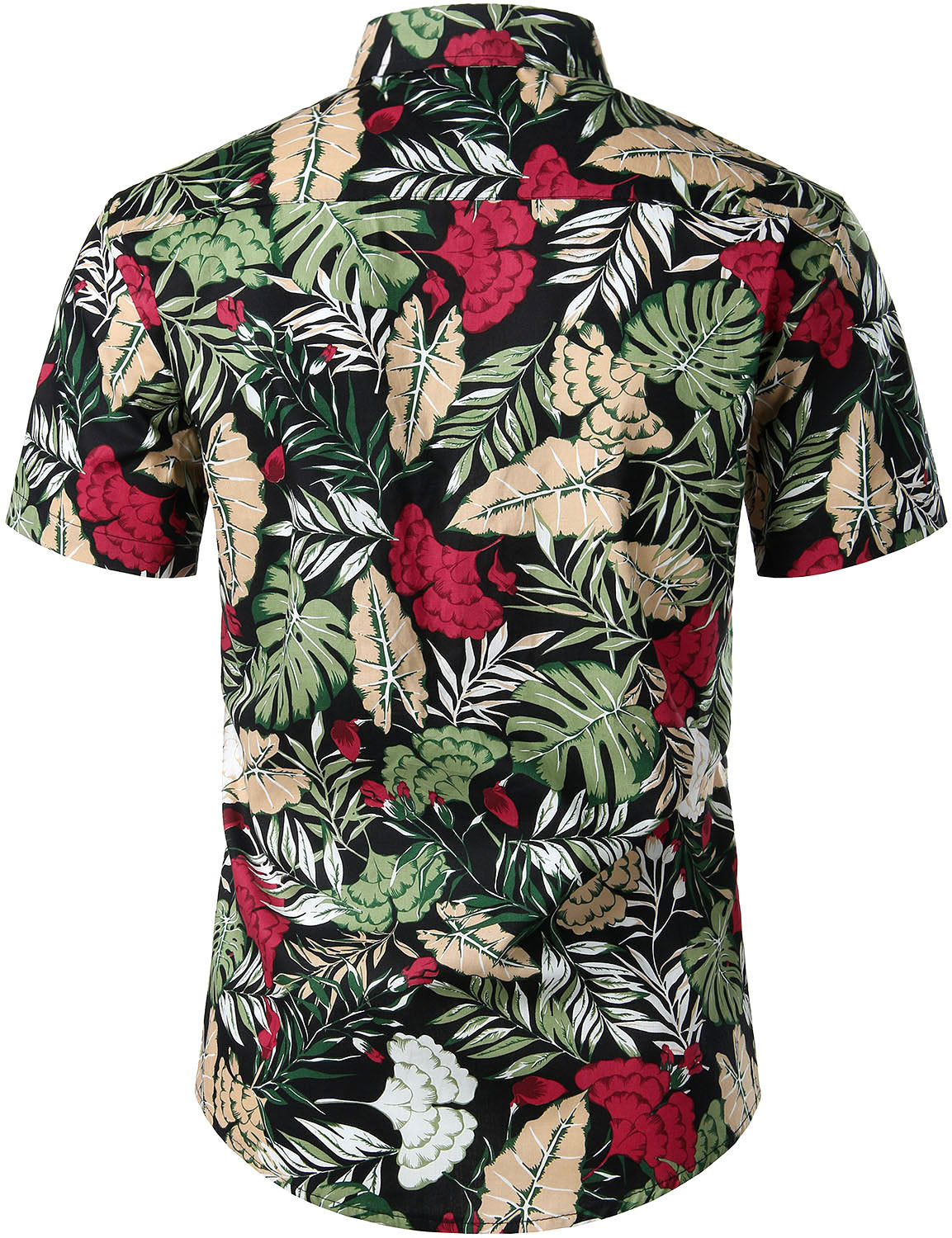 JOGAL Men's Cotton Button Down Short Sleeve Hawaiian Shirt (Cockscomb)