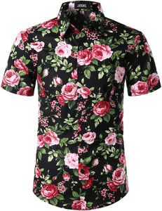 JOGAL Men's Cotton Button Down Short Sleeve Hawaiian Shirt ( Roses)