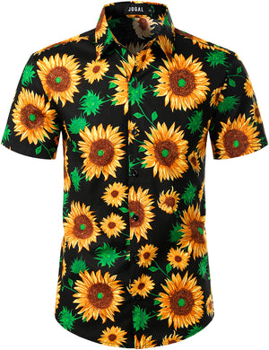 JOGAL Men's Cotton Button Down Short Sleeve Hawaiian Shirt(Black Sunflower)