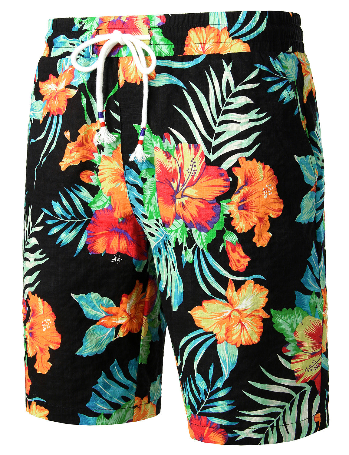 JOGAL Men's Flower Flat Front Casual Aloha Hawaiian Shorts