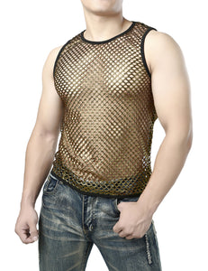 JOGAL Men's Mesh Fishnet Fitted Sleeveless Muscle Top Gold shirts