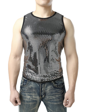 JOGAL Men's Mesh Fishnet Fitted Sleeveless Muscle Top Gold Sequins Shirts