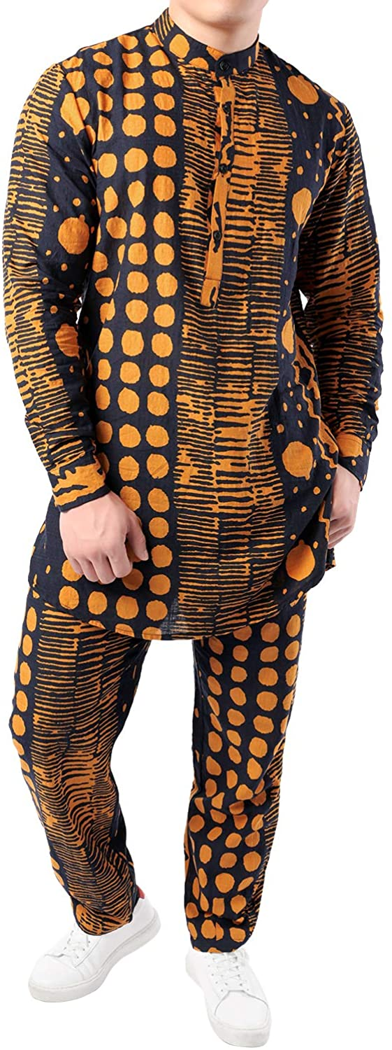 JOGAL Men's African Dashiki Print Shirts and Pants 2 Piece Sets Traditional Tracksuit