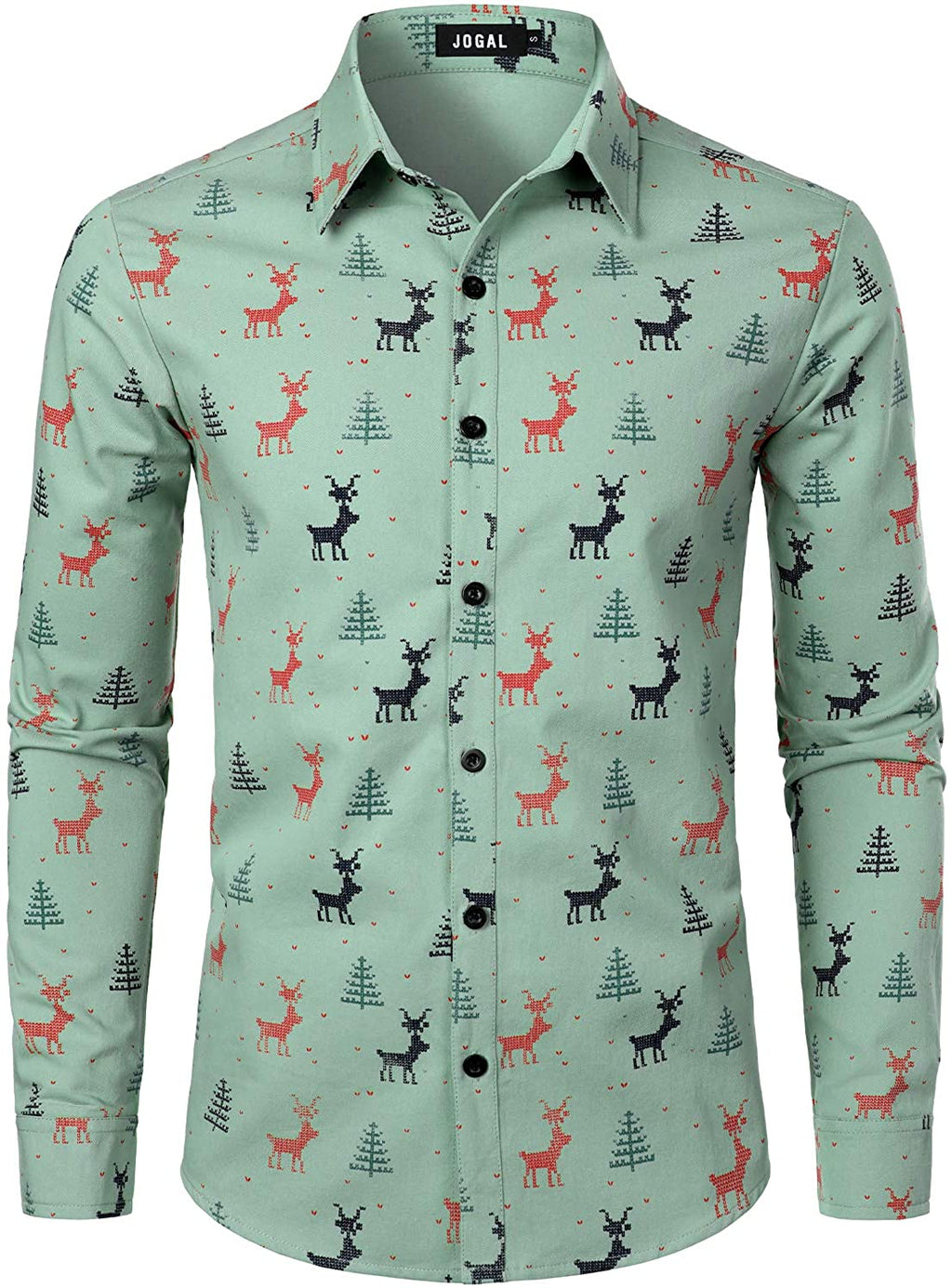 JOGAL Men's Christmas Santa Claus Party Long Sleeve Button Down Shirts