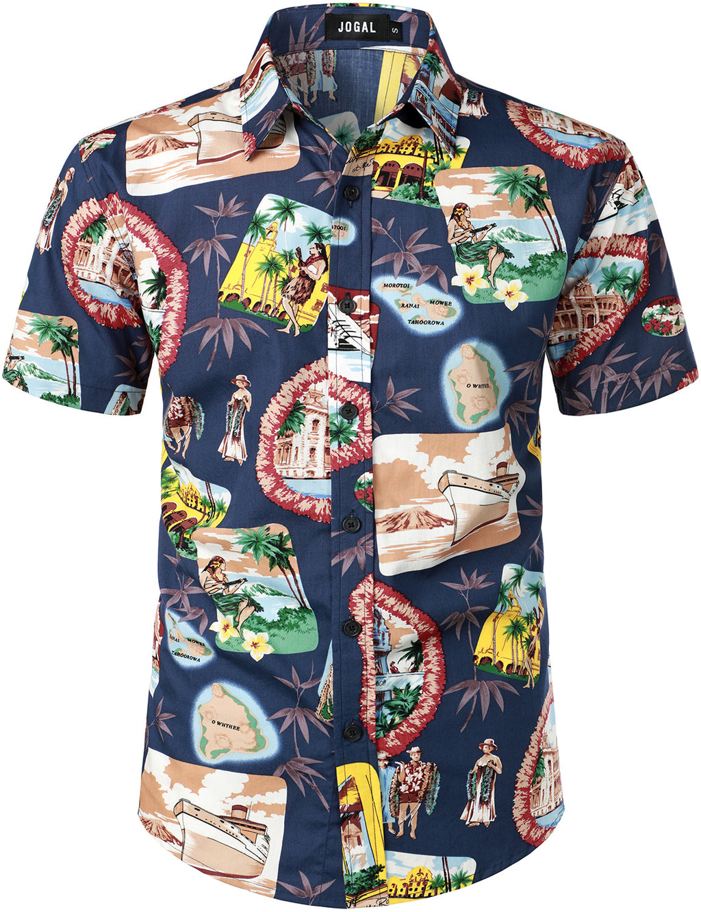 JOGAL Men's Beach Aloha Casual Button Down Short Sleeve Hawaiian Shirt