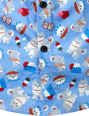 JOGAL Men's Christmas Santa Claus Party Funny Dog Prints Long Sleeve Button Down Shirts