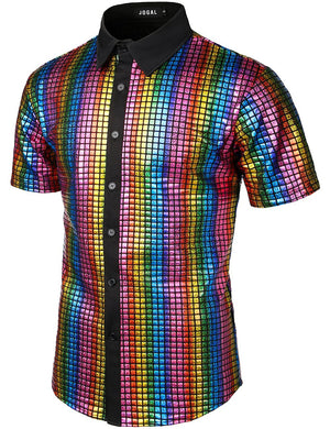 JOGAL Men's Dress Shirt Sequins Button Down Shirts 70s Disco Party Costume
