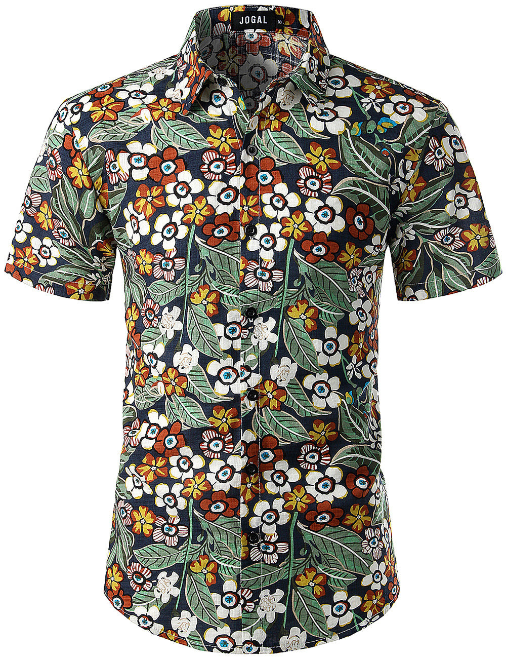 JOGAL Men's Flower Casual Button Down Short Sleeve Hawaiian Shirt(NavyCartoon)