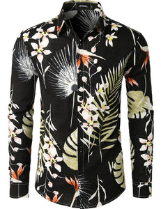 JOGAL Men's Flower Casual Button Down Long Sleeve Hawaiian Shirt(Black)