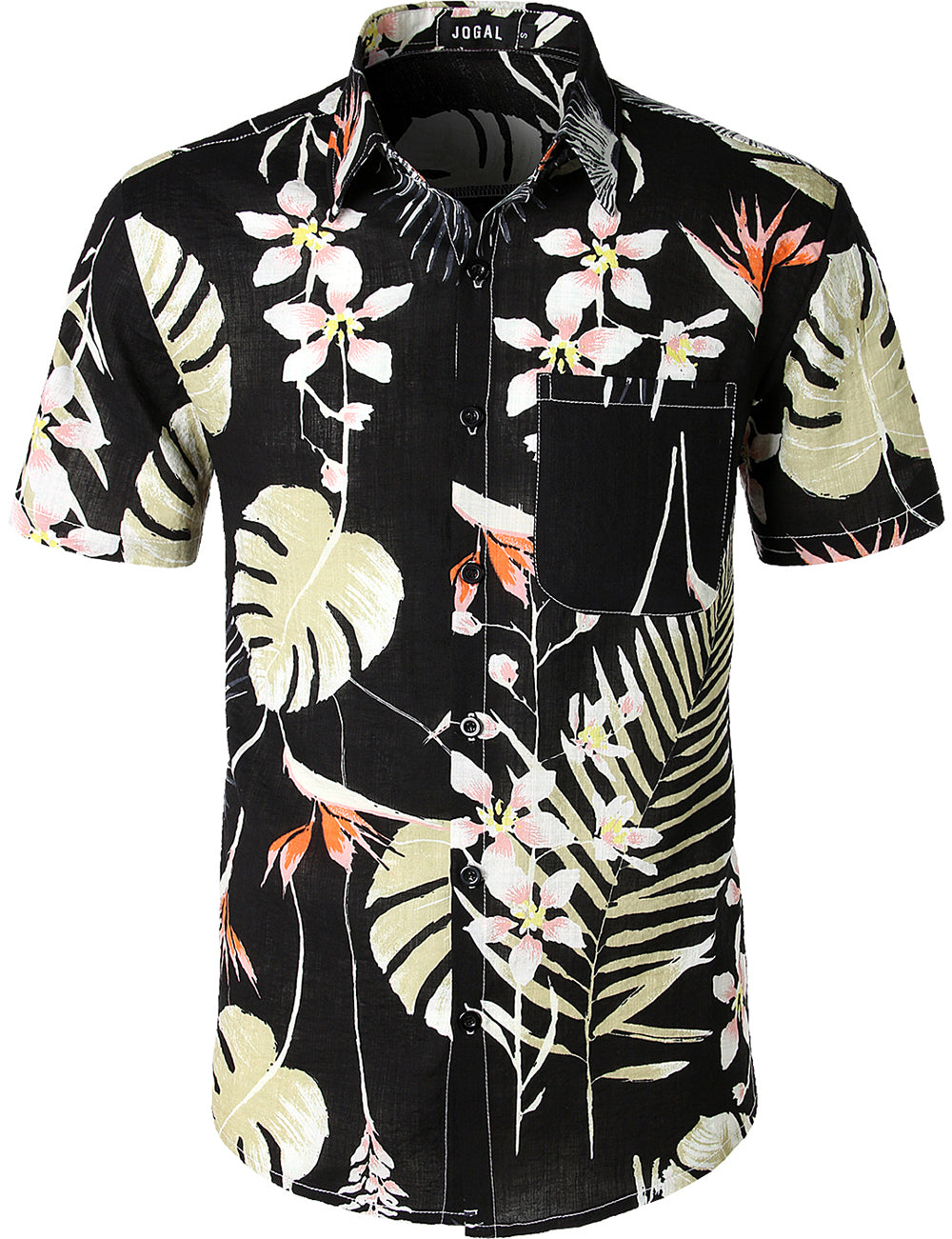 JOGAL Men's Flower Casual Button Down Short Sleeve Front packet Hawaiian Shirt(Black)