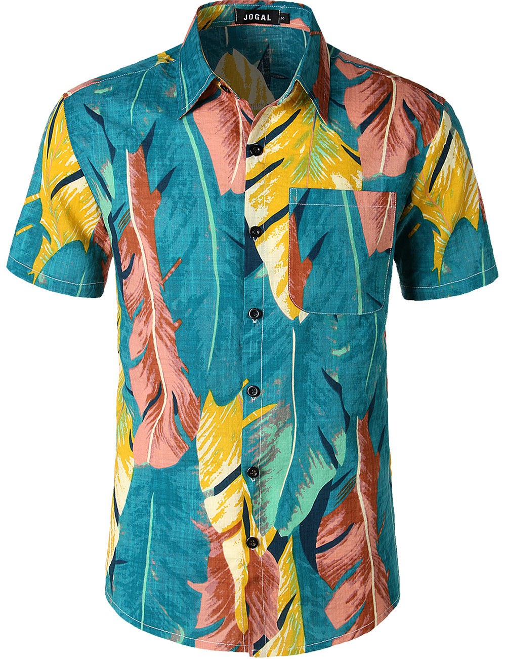 JOGAL Men's Flower Casual Button Down Short Sleeve Front pocket Hawaiian Shirt(Blue)