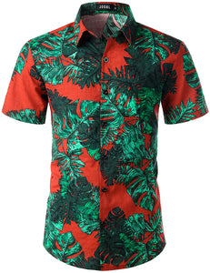 JOGAL Men's Flower Casual Button Down Short Sleeve Hawaiian Shirt(Green leaves)