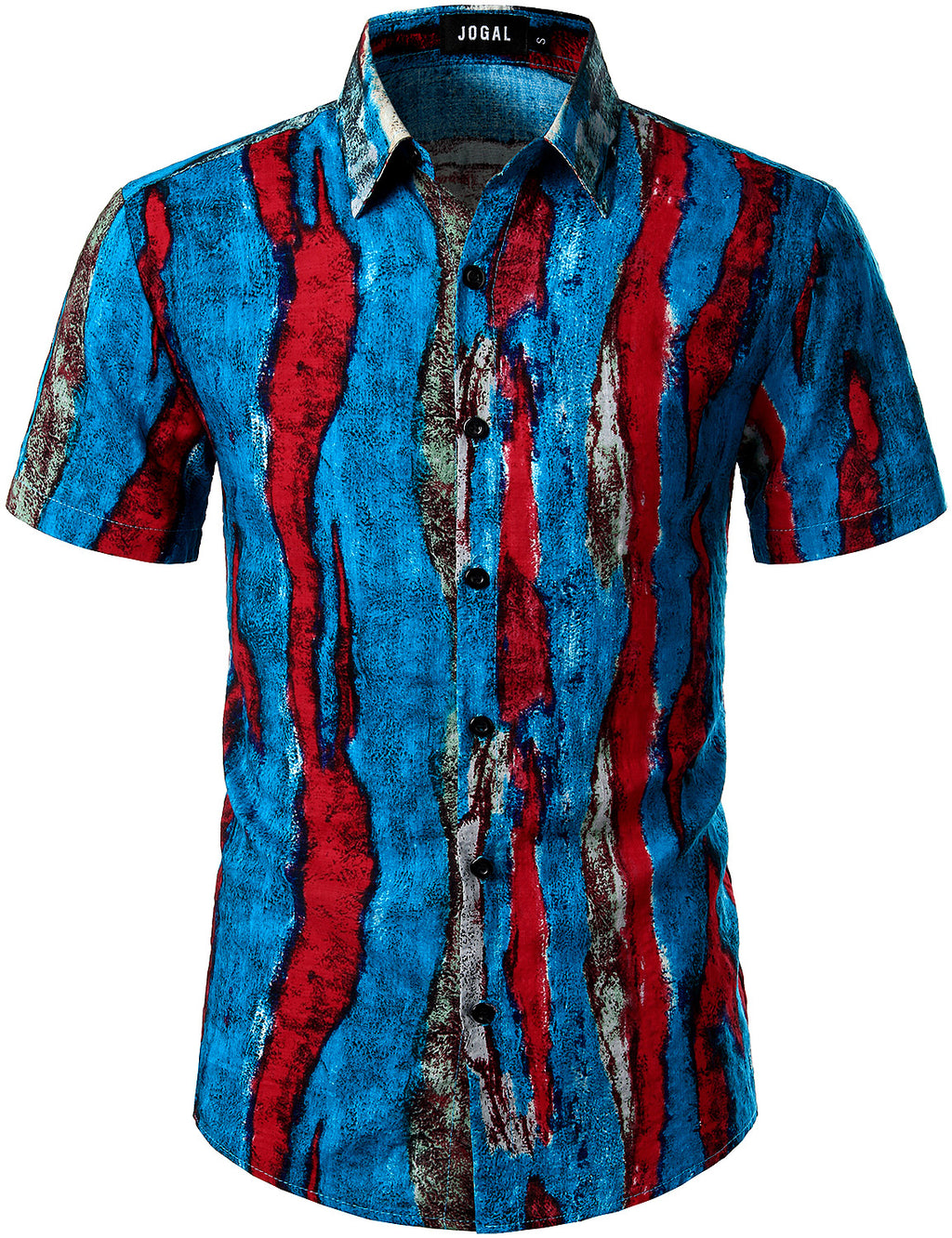 JOGAL Men's Casual Stripe Short Sleeve Button Down Shirts (RedBlue)