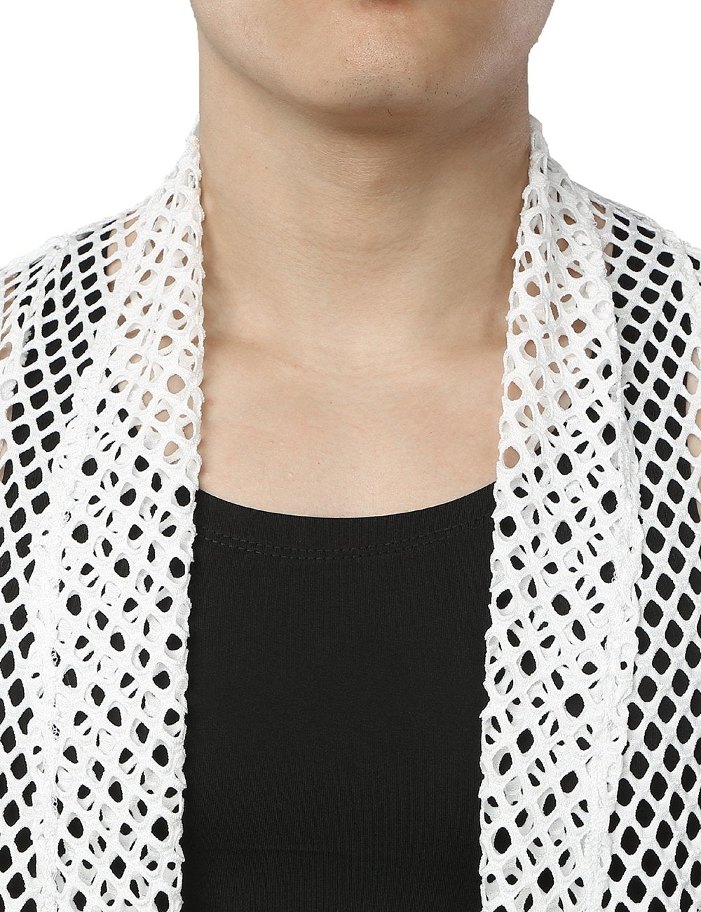 Men's Mesh Fishnet Fitted Muscle Cardigan
