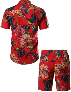 JOGAL Mens Flowers Casual Aloha Hawaiian Shirt(Red)