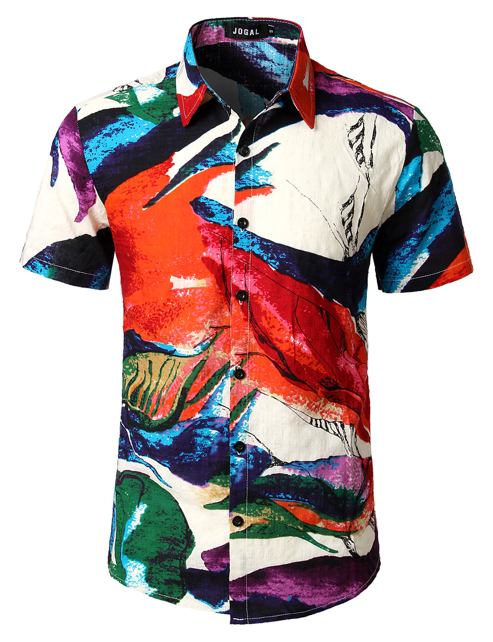 JOGAL Men's Flower Casual Button Down Short Sleeve Hawaiian Shirt(multicolored)