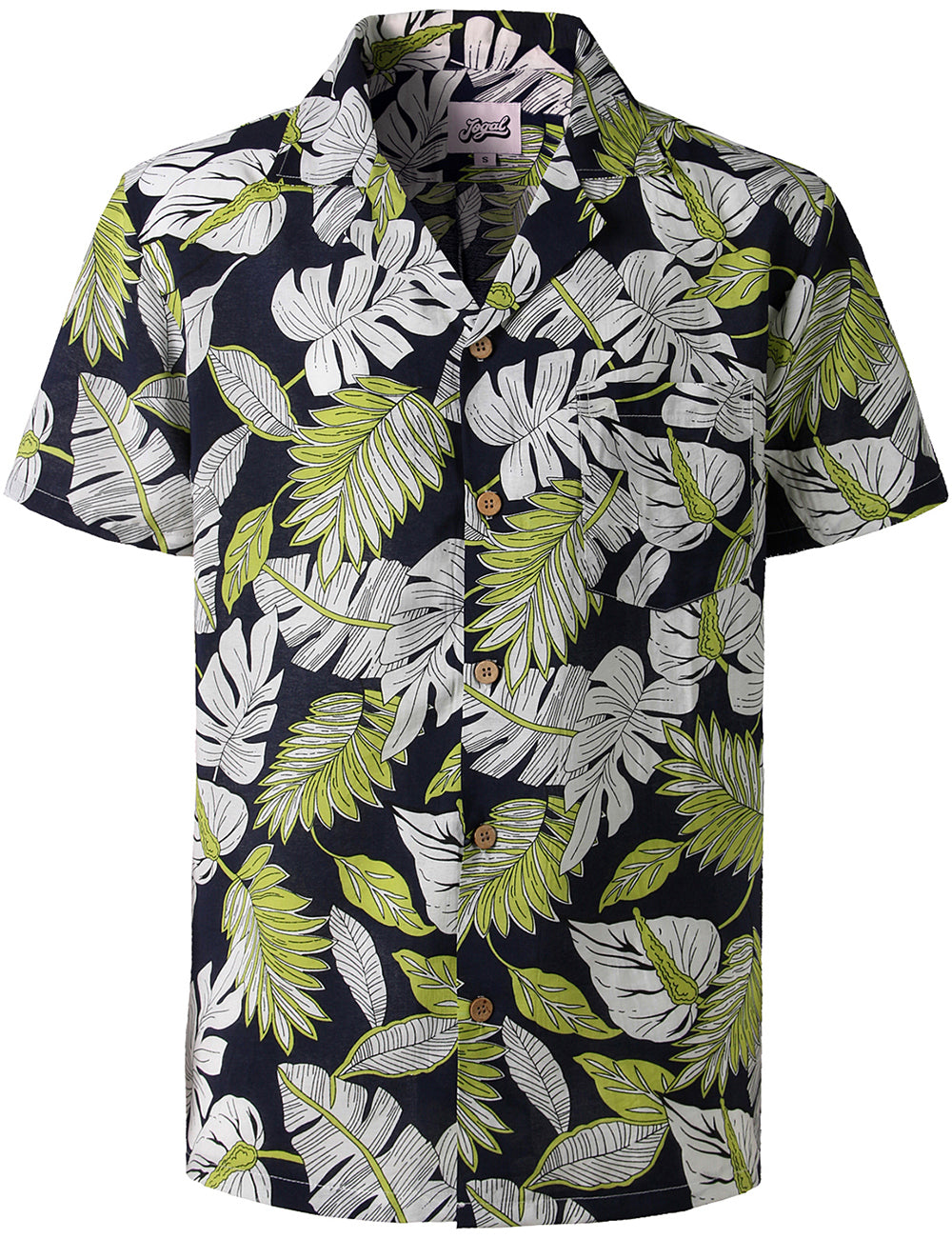JOGAL Men's Relaxed-Fit Cotton Tropical Hawaiian Shirt(Leaf)