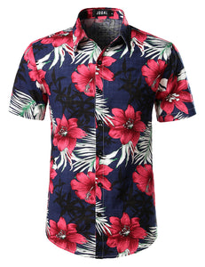 JOGAL Men's Flower Casual Button Down Short Sleeve Hawaiian Shirt