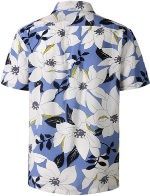 JOGAL Mens Hawaiian Shirt Short Sleeve Flower Shirt STAG Beach Holiday Casual