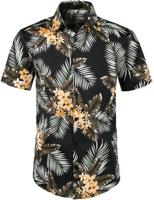 JOGAL Men's Flower Casual Button Down Short Sleeve Hawaiian Shirt(Leaf)