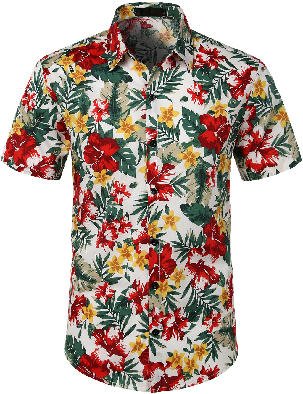 JOGAL Men's Flower Casual Button Down Short Sleeve Hawaiian Shirt(Plumeria)