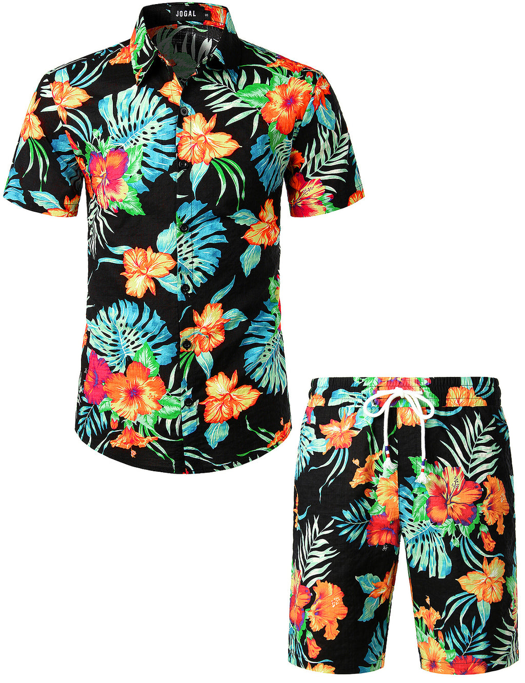 JOGAL Men's Flower Casual Button Down Short Sleeve Hawaiian Shirt Suits