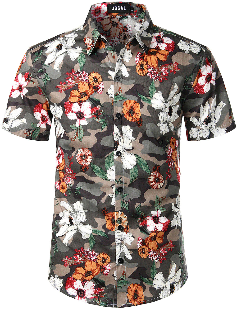 JOGAL Men's Flower Casual Button Down Short Sleeve Hawaiian Shirt(Camouflage Floral)