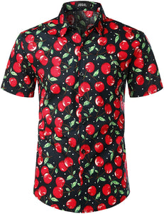JOGAL Men's Fruit Casual Button Down Short Sleeve Hawaiian Shirt (Cherry)