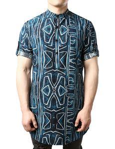 JOGAL Men's African Dashiki Print Henley Shirt Long Sleeve Casual Button Down Shirts