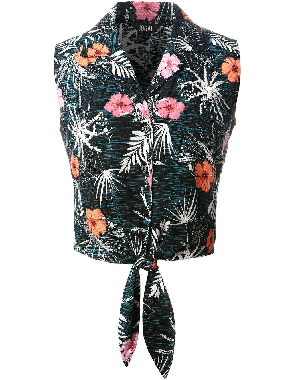 JOGAL Women's Flower Hawaiian Blouses Tie Front Crop Top