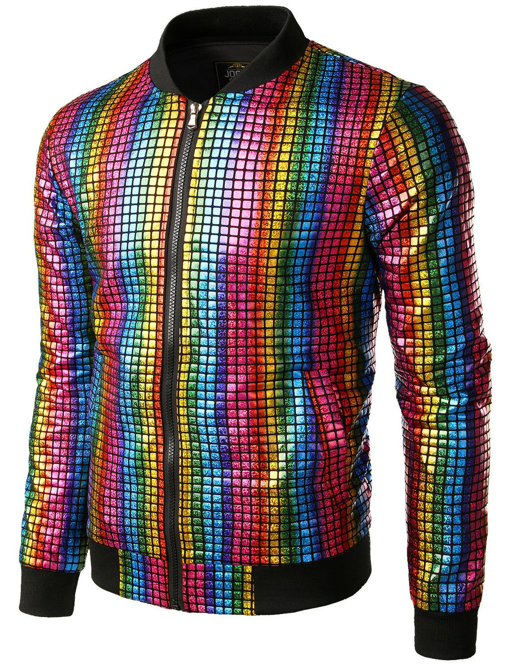 JOGAL Men's Metallic Sequins Baseball Bomber Jacket 70s Disco Party Costume