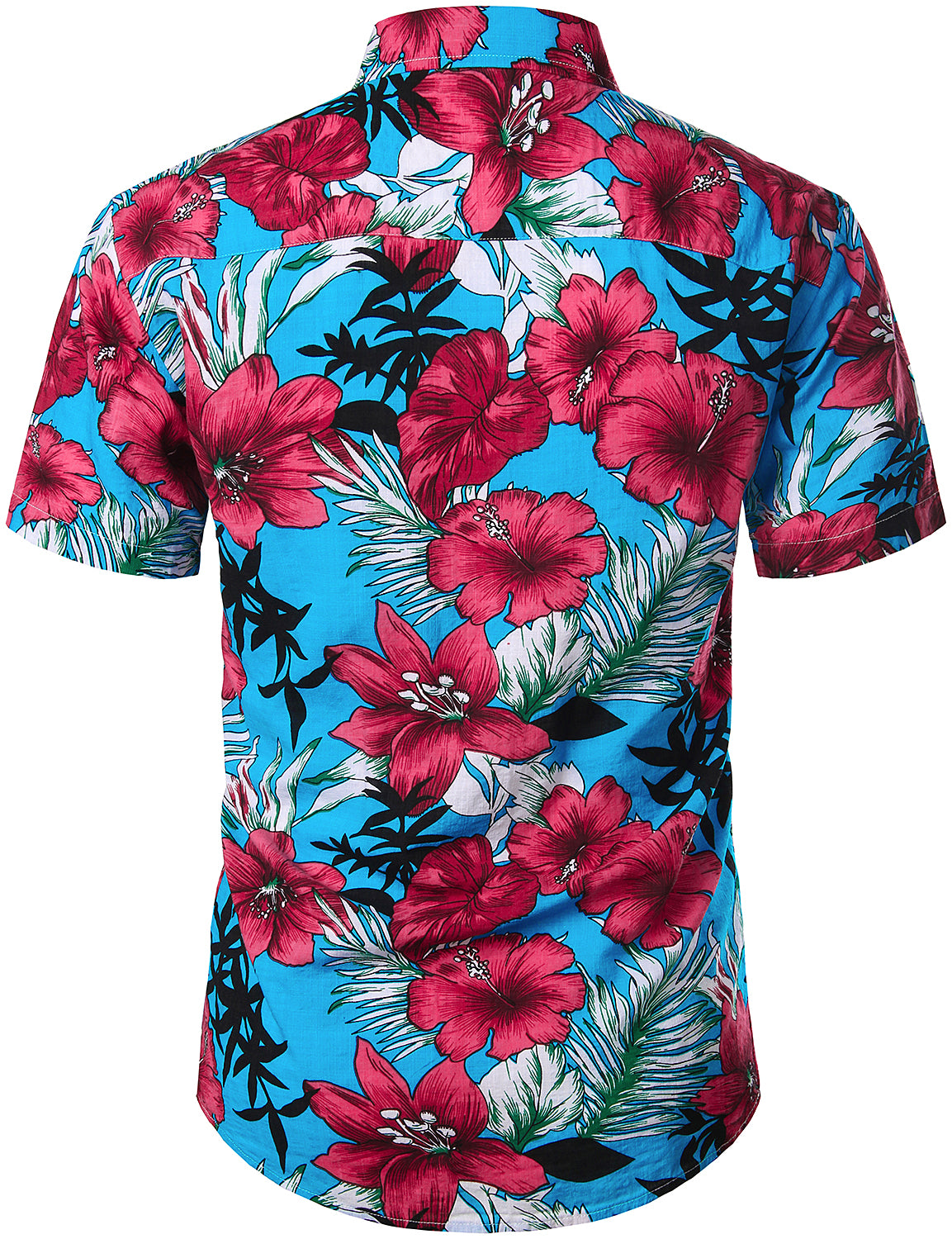 JOGAL Men's Flower Casual Button Down Short Sleeve Hawaiian Shirt(OldBlack)