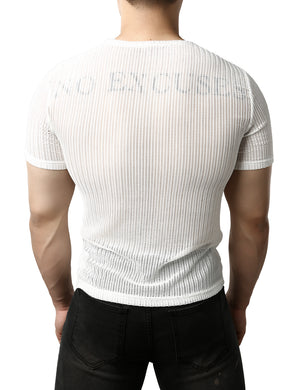 JOGAL Men's Mesh See Through Fitted Short Sleeve Muscle Top