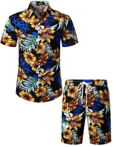 JOGAL Men's Flower Casual Button Down Short Sleeve Hawaiian Shirt Suits(Oldblack)