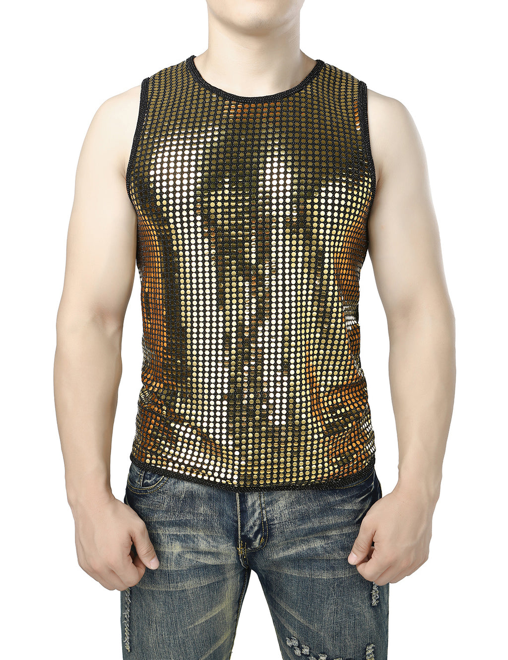 JOGAL Men's Mesh Fishnet Fitted Sleeveless Muscle Top Gold Sequins Shirts(Circle)