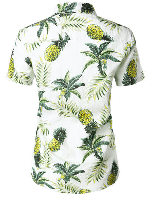 JOGAL Women's Floral Blouse Casual Button Down Short Sleeve Aloha Hawaiian Shirt