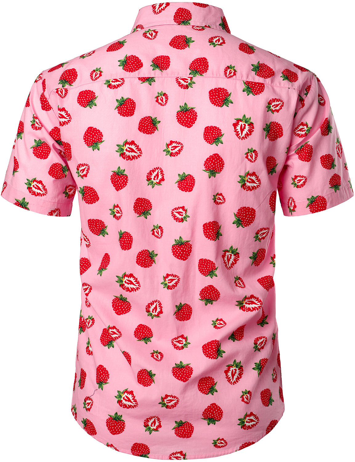 JOGAL Men's Cotton Button Down Short Sleeve Hawaiian Shirt (Strawberry)