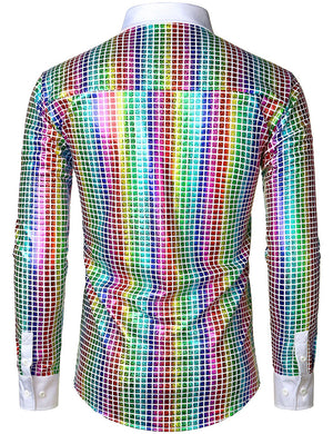 JOGAL Men's Dress Shirt Sequins Button Down Long Sleeve Shirts 70s Disco Party Costume