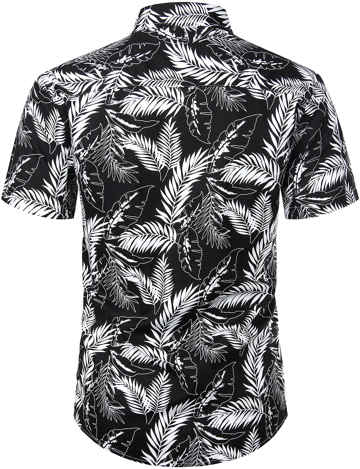 JOGAL Men's Flower Cotton Button Down Short Sleeve Hawaiian Shirt(BlackLineLeaf)