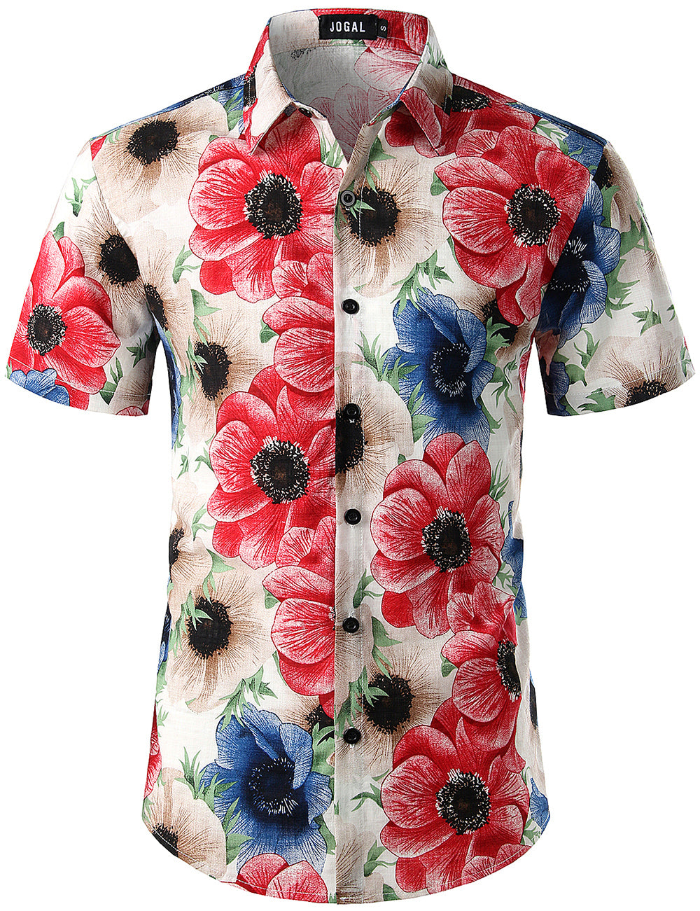 JOGAL Men's Flower Casual Button Down Short Sleeve Hawaiian Shirt(Peony)