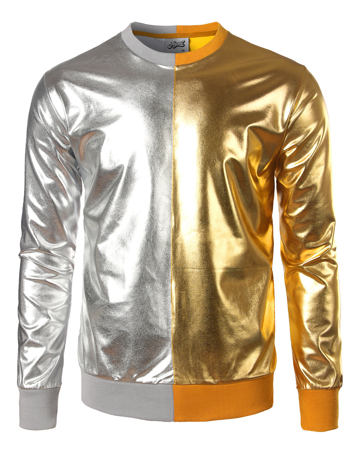 JOGAL Metallic Gold Shiny Shirts Nightclub Styles Hoodies